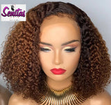 Handmade Customized Wig - Custom Unit -  Ombre Mixed Color - Kinky Curls