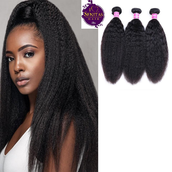 Brazilian Kinky Straight 3 Bundles. 100% Unprocessed Virgin Human Hair Weaves... Senitas Hair