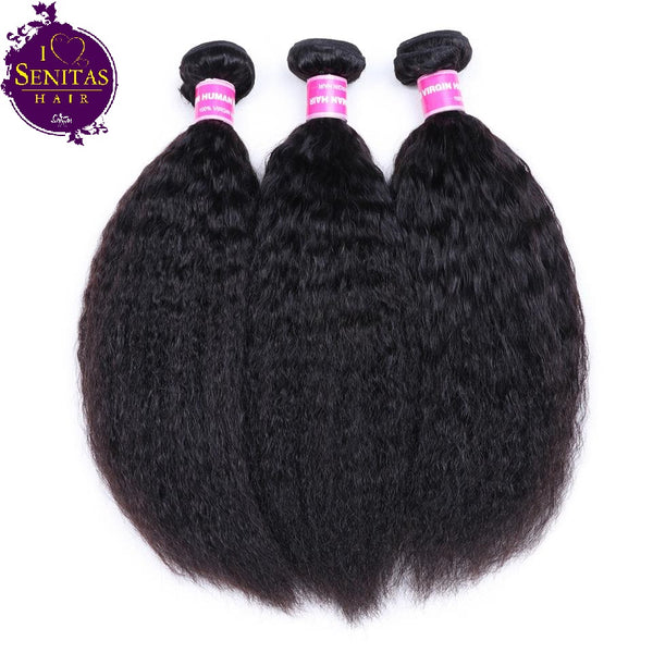 Brazilian Kinky Straight 3 Bundles. 100% Virgin Unprocessed Human Hair Weaves... Senitas Hair - Senitas Virgin Hair Extension and Wigs