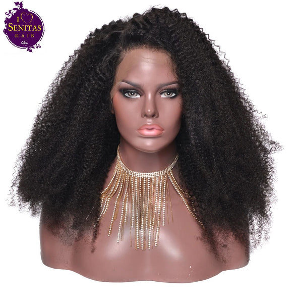 Full Lace Wig Kinky Curls 100% Virgin Hair Wig 180% Density