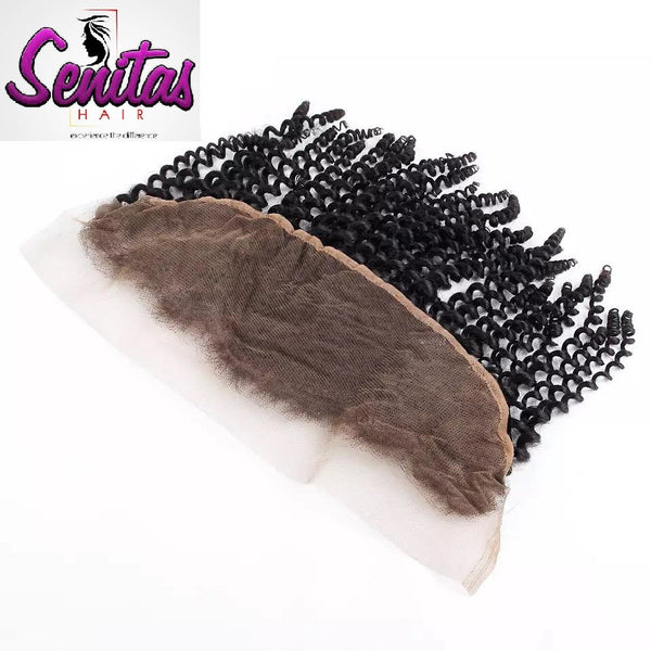 Frontal Lace Closure - Kinky 13x4 Natural Color 100% Human Virgin Hair. - Senitas Virgin Hair Extension and Wigs