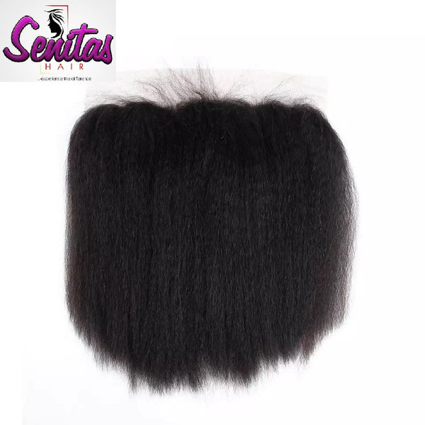 Unprocessed Kinky Straight Lace Frontal 13x4 Natural Color 100% Human Virgin Hair