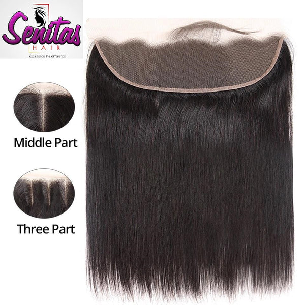 Unprocessed Straight Lace Frontal with baby hair 13x4 Natural Color 100% Human Virgin Hair - Senitas Virgin Hair Extension and Wigs