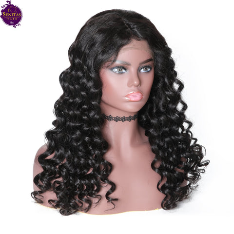 Lace Front  Wig Loose Wave 100% Virgin Human Hair Wig on Sale 180% Density - Senitas Virgin Hair Extension and Wigs