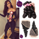 Brazilian Loose Wave 3 Bundles + Frontal Lace Closure. 100% Unprocessed Virgin Hair Weaves... Senitas Hair - Senitas Virgin Hair Extension and Wigs