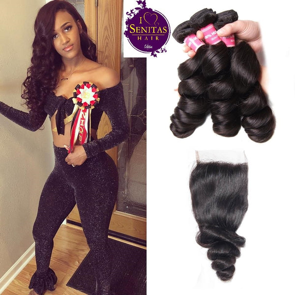 Brazilian Loose Wave 4 Bundles + Top Closure. 100% Unprocessed Virgin Human Hair Weaves... Senitas Hair - Senitas Virgin Hair Extension and Wigs