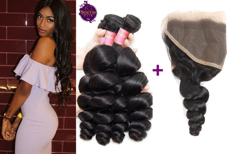Brazilian Loose Wave 3 Bundles + Frontal Closure. 100% Unprocessed Virgin Hair Weaves... Senitas Hair - Senitas Virgin Hair Extension and Wigs