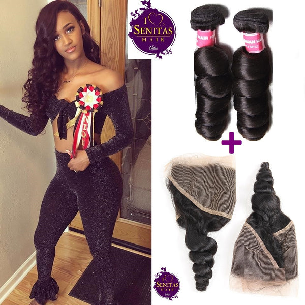 Brazilian Loose Wave 2 Bundles + Frontal Closure. 100% Unprocessed Virgin Hair Weaves... Senitas Hair - Senitas Virgin Hair Extension and Wigs