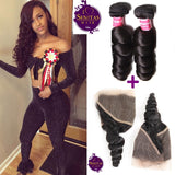 Brazilian Loose Wave 2 Bundles + Frontal Lace Closure. 100% Unprocessed Virgin Hair Weaves... Senitas Hair