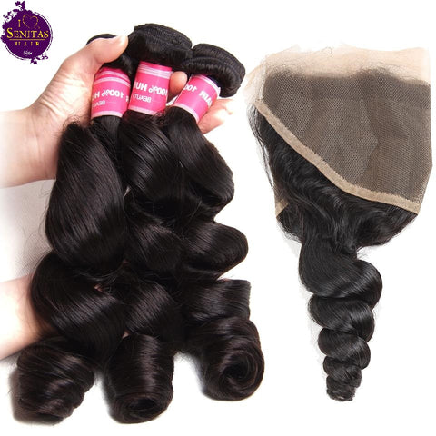 Brazilian Loose Wave  3 Bundles + Frontal Lace Closure. 100% Unprocessed Virgin Human Hair Weaves... Senitas Hair