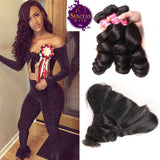 Brazilian Loose Wave 3 Bundles + Frontal Closure. 100% Unprocessed Virgin Human Hair Weaves... Senitas Hair - Senitas Virgin Hair Extension and Wigs