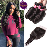 Brazilian Loose Wave 3 Bundles + Top Closure. 100% Virgin Human Hair Weaves... Senitas Hair - Senitas Virgin Hair Extension and Wigs