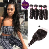 Brazilian Loose Wave 4 Bundles + Top Closure. 100% Virgin Human Hair Weaves... Senitas Hair