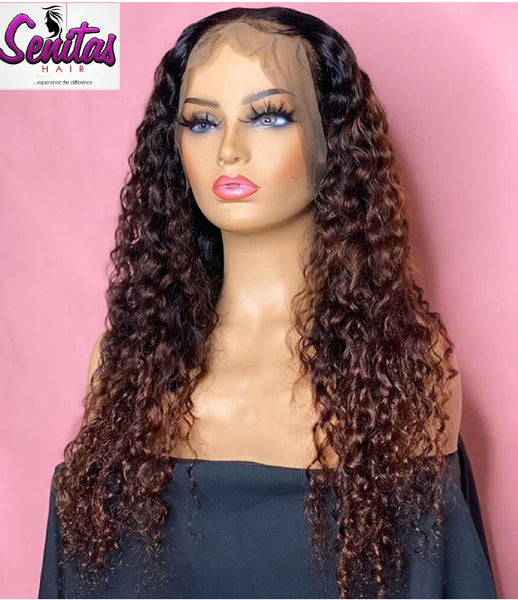 Handmade Customized Wig - Custom Unit -  Ombre Mixed Color - Jerry Curls