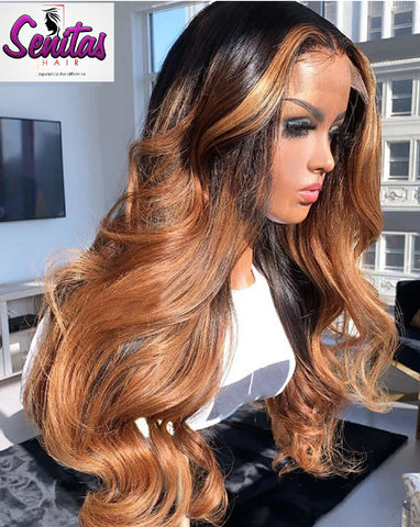 Handmade Customized Wig - Custom Unit -  Ombre Mixed Color - Super Wave