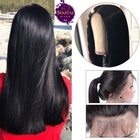 Front Lace Wig Straight 100% Unprocessed Virgin Human Hair Wig on Sale 180% Density