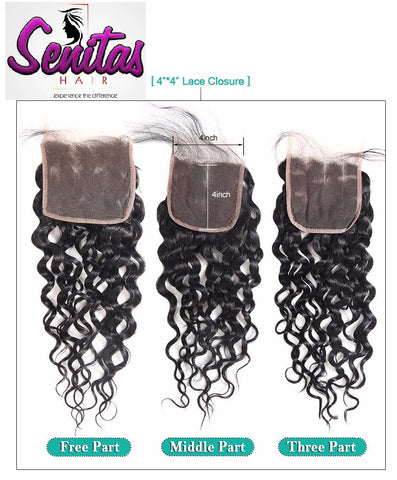 TOP CLOSURE - UNPROCESSED WATER WAVE - 100% VIRGIN LACE CLOSURE - Senitas Virgin Hair Extension and Wigs