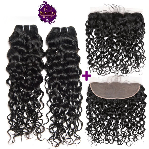 Brazilian Water Wave 2 Bundles + Frontal Lace Closure. 100% Unprocessed Virgin Hair Weaves... Senitas Hair