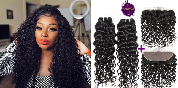 Brazilian Water Wave 2 Bundles + Frontal Closure. 100% Unprocessed Virgin Hair Weaves... Senitas Hair - Senitas Virgin Hair Extension and Wigs
