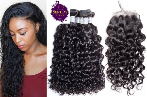 Brazilian Water Wave 4 Bundles + Top Closure. 100% Unprocessed Virgin Hair Weaves... Senitas Hair - Senitas Virgin Hair Extension and Wigs