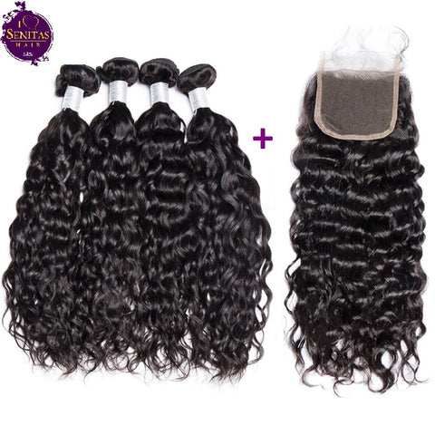 Brazilian Water Wave 4 Bundles + Top Closure. 100% Unprocessed Virgin Remy Hair Weaves... Senitas Hair - Senitas Virgin Hair Extension and Wigs