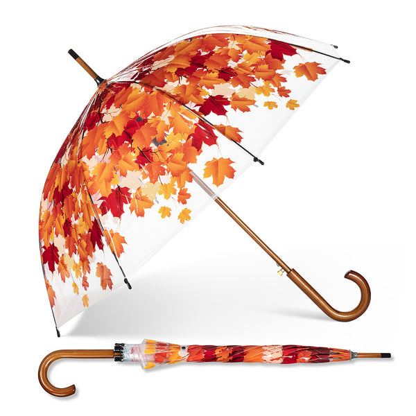 Exposure Clear Leaves Wood Handle Umbrella