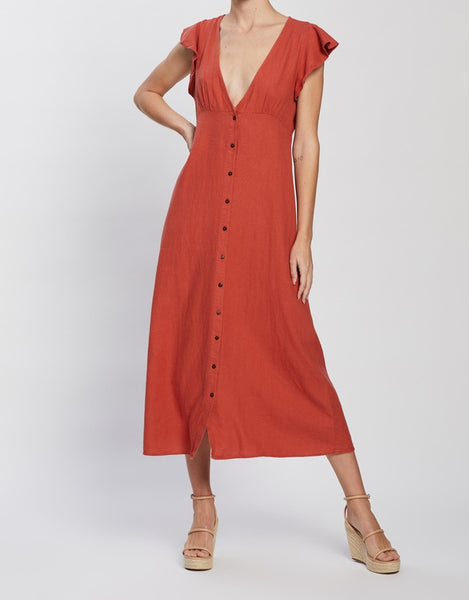 ONLY Becca Button Midi Linen Dress