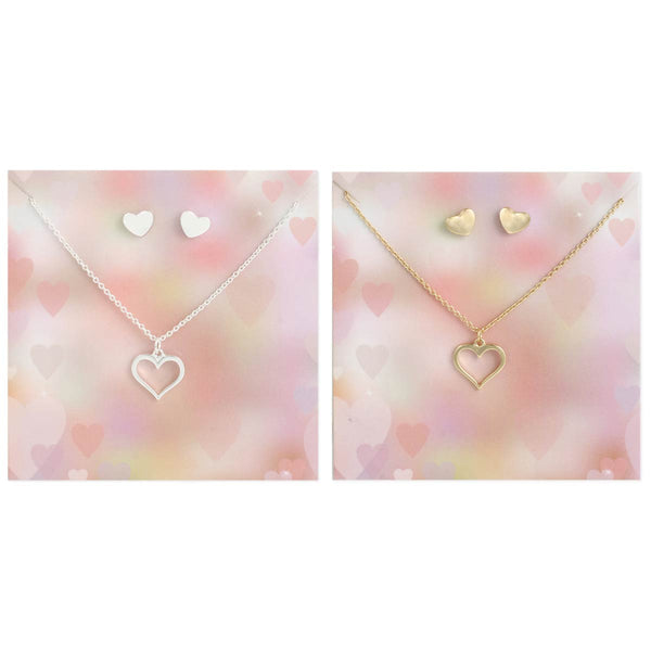 ZAD Hearts Earrings and Necklace Set