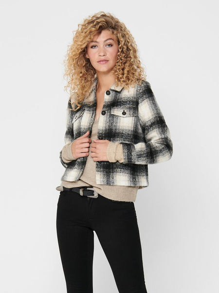 ONLY Lou Short Check Wool-blend Coat
