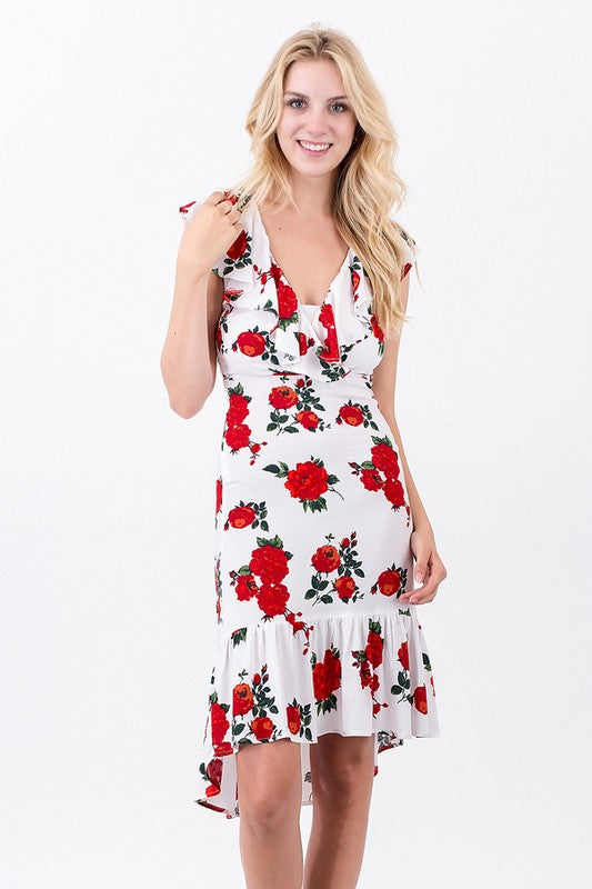 Exposure Ruffle Floral Dress