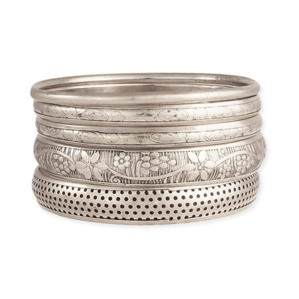 ZAD Silver Bangle Set