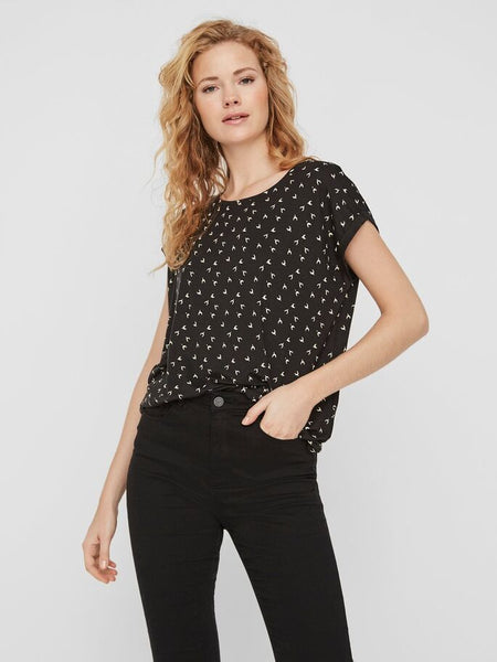 Vero Moda Ava Plain Top Wishbone Print