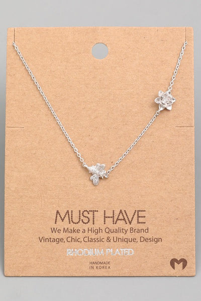 Exposure Rhodium Plated Bee and Flower Necklace