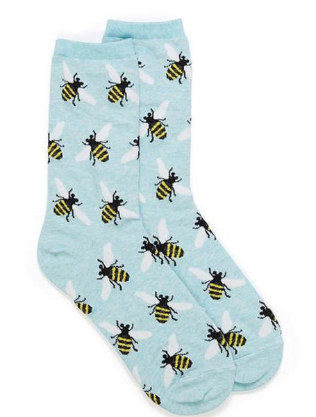 Hotsox Bees on Blue Socks