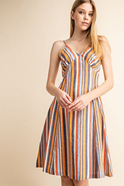 Gilli Linen Multi Stripe Dress