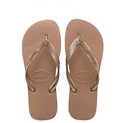 Havaianas Top Metallic Rose Gold Flip Flops
