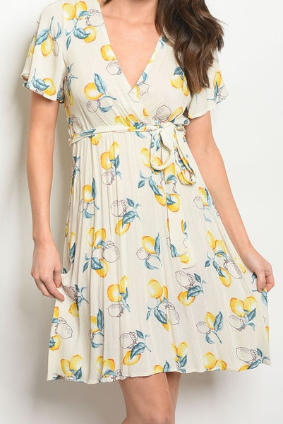 Exposure Lemon Wrap Dress