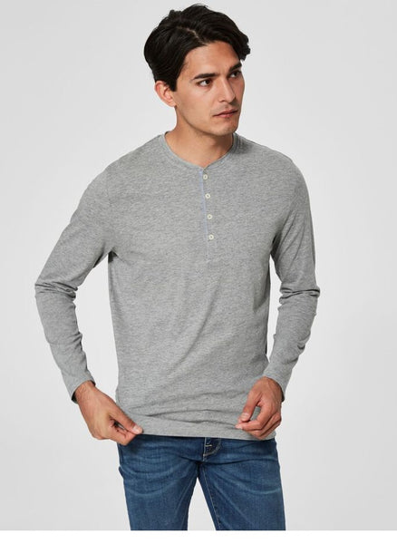 SLH Niklas LS Split Neck Cotton Shirt