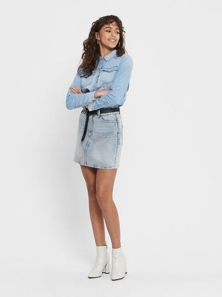 ONLY Rose Life A-shape Denim Skirt Lt Wash
