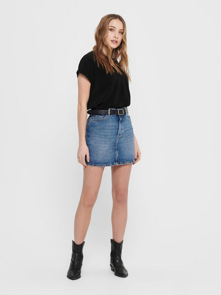 ONLY Rose Life A-shape Denim Skirt Med Wash