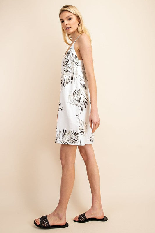 Gilli Linen Palm Leaf Print Shift Dress