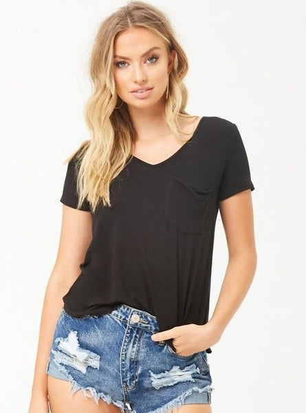 Exposure Soft VNeck Pocket Tee