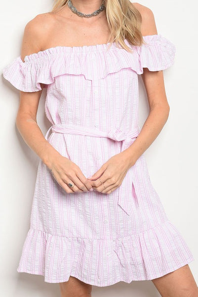 Exposure Stripe Off Shoulder Dress