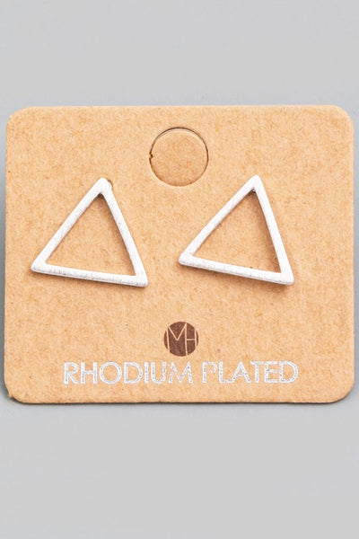 Exposure Rhodium Triangle Earrings