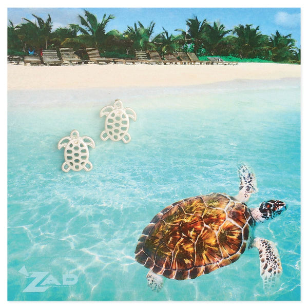 Exposure Silver Plated Cutout Sea Turtle Earrings