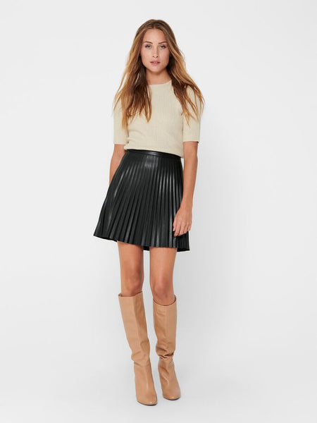 JDY Twix Pleat Faux Leather Skirt