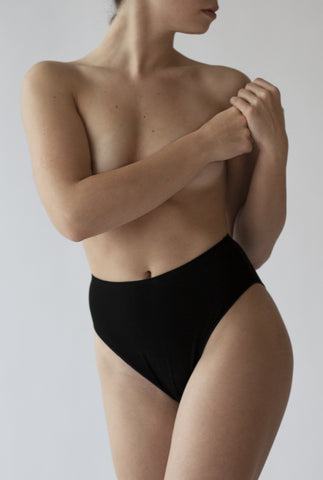 High Waisted French cut  natural underwear made with sustainable bamboo fabric