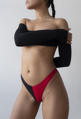 red and black cotton thong