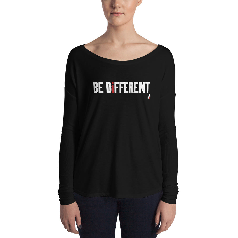 Be Different Women's Long Sleeve Tee (White Print)