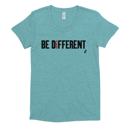 Be Different Women's Crew Neck Tri-blend T-shirt (Black Print)